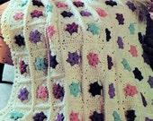INSTANT DOWNLOAD PDF Vintage Crochet Pattern for Granny Square Petal Patchwork  Afghan Throw   Retro
