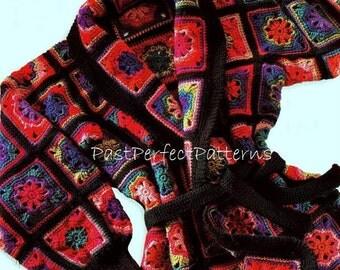 INSTANT DOWNLOAD PDF Vintage Crochet Pattern   Granny Squares Jacket  Coat Cardigan Retro