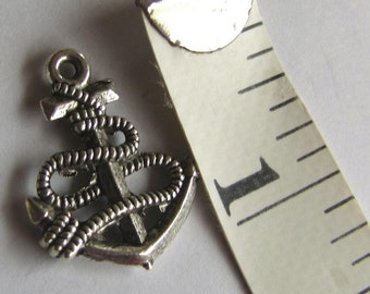 Anchor charms,  10 pieces, Tibet Silver drops dangles,  Pendant Charms, 24 x 19 mm, Item #1024