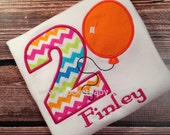 Personalized Balloon Birthday Shirt - You Choose your Fabric  - Circus Birthday Shirt - by Pocketbaby