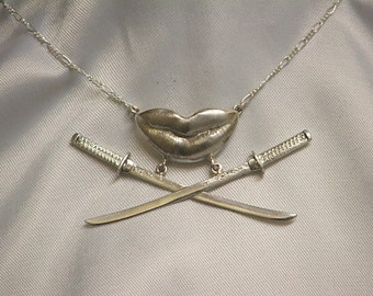 SUCCINCT-ARTICULATE-CONCISE: Version #1 Sterling Silver Kissing Lips and Katanas Necklace- Ready to ship