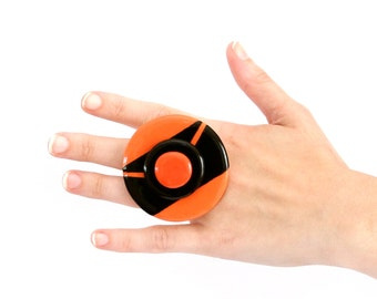 Cocktail Ring Ceramic,  big bold handmade statement  ring -  MOJO MAGIC   -  2.3 inch