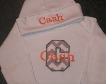 Custom Boutique Infant Gown Personalized Initial MONOGRAM Comming Home Layette