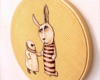 Poor Edward (hand embroidered color applique in hoop frame)