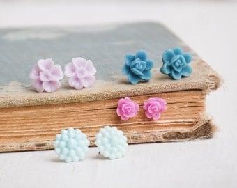 Flower EARRINGS Birthday GIFT SET Teen Girl's Jewelry Spring Wedding True Blue Lavender