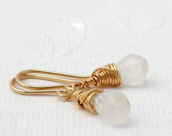 Dainty rainbow moonstone earrings, gold filled, pink goldfilled, sterling silver, choose your metal color