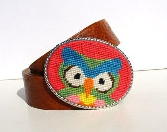 Needlepoint Preppy Owl Belt buckle