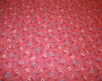 """Floral Pansy Fabric on Outrageous Orange Background Cotton Fabric 1/2 Yard Cotton 45"""" Wide"""