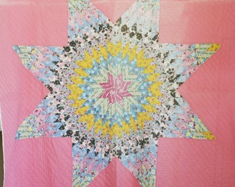 """Vintage Quilt 1940s -  Pre WWII Texas Star Quilt - Star of Bethlehem - Antique Quilt Throw - Heirloom - Hand  Me Down Blanket - 74""""x 68"""""""