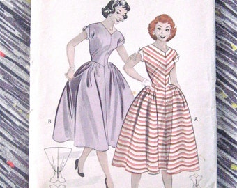 1950s Butterick 6845 Vintage Sewing Dress Pattern Fitted Bodice Full Skirt  Bust 32 inches