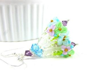 Pastel Floral Earrings, Blue Mint Green Lavender Earrings, Nature Jewelry, Lampwork Earrings Gift for Gardener Dangle Garden Weddings - Abby