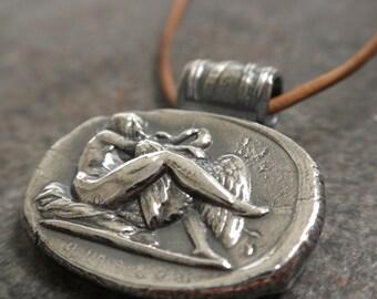 Mythology Jewelry Wax Seal Necklace Leda and the Swan Pendant