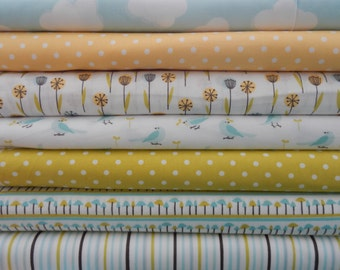 1/2 YARD Set of 7 ORGANIC Cotton from My Happy Garden