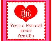 Valentine Monogram Heart Sticker, Gift Enclosure Card or Return Address Label - Set of 24