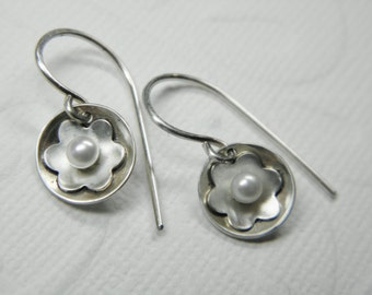 Tiny Pearl Dangle Earrings- Cupped Sterling Silver with Flower and Freshwater Pearl