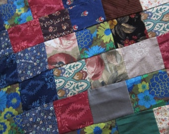 Quilt top 1960s - 70s colorful sturdy cotton, boho fabric, festival tent, unfinished quilt, hippie patchwork,