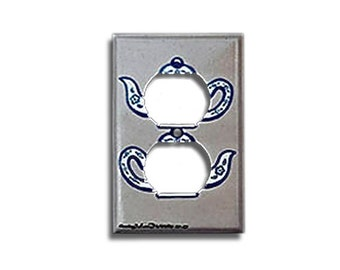 Hand Painted Outlet Wall Plate -Tea Pots