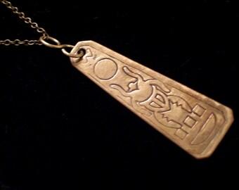 Vintage Brass Egyptian God Khepri Scarab Beetle Pendant Necklace, Antiqued Brass Plated Chain