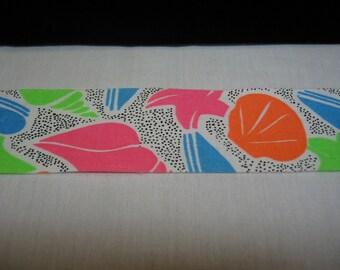 "Neon Binding Cotton ""Glows under Black Light"" Seashore Pattern 1 7/8"" wide 10 yards Straight cut"