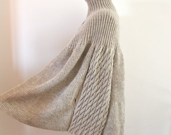 Women's Poncho Sweater Cardigan Coat Tunic Chunky Wrap Sweater Hand Knitted Beige Sand Oversized Knits