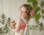 Girl's Dress with  Floral Prints with Adjustable Straps that tie in the back -- Coral and White -  by bitty bambu