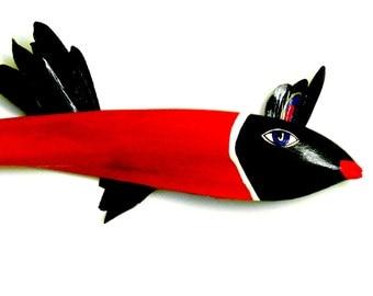 Fish Art  Deco Red Lady Fish Palm Tree Art Decorative Florida Painted Palm Frond Fish .. Orig.... Handmade