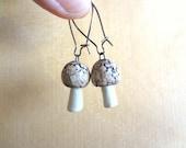 Cute Little Handmade Porcelain MUSHROOM Earrings