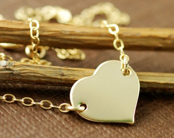 Gold Heart Necklace, Love Necklace, 14kt Gold Filled Chain Necklace, Charlize Theron Heart Necklace, Bridal Jewelry