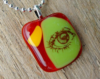 Funky Fused Glass Jewelry - Another Eye - Third Eye Necklace - One Eyed Jewelry