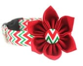 Jingle Bell Chevron Dog Collar Flower  / Adjustable and Removable / Girly Dog Collar / Style: Jingle Bell Chevron / Available in 4 Sizes