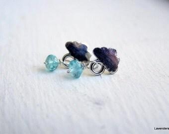 Dainty Studs , Cloud Stud Earrings in Sterling Silver , Blue Apatite Raindrops Earrings , Small  Silver Post Earrings , Winter Jewelry