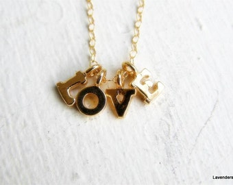Love Necklace , Love Letters Necklace , Four Gold Initial Necklace , Gold Necklace , Personalized jewelry