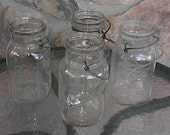 4 Ball Quart Canning Jars Clear Glass