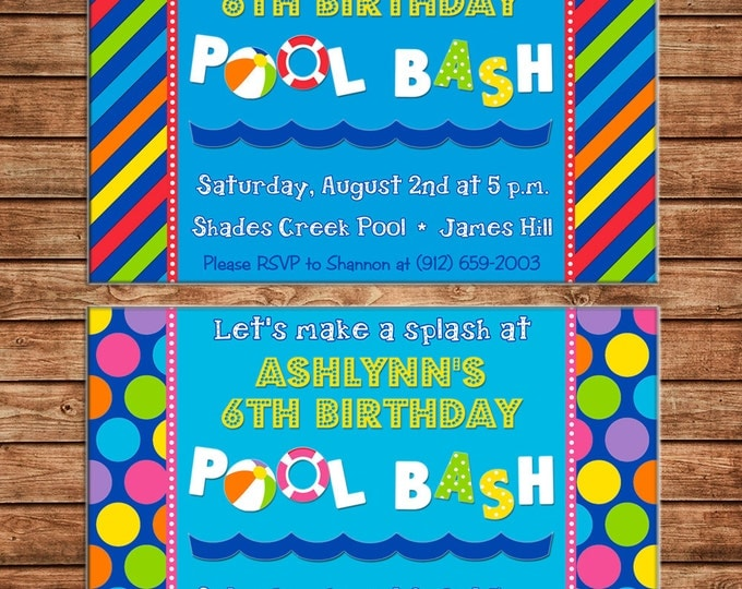 Boy or Girl Invitation Pool Bash Swimming Birthday Party - Can personalize colors /wording - Printable File or Printed Car