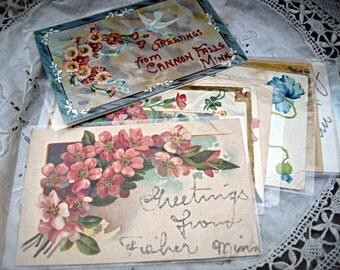 Vintage postcard set, charming florals, glitter postcards, set of 9 postcards, Minnesota postcards, instant collection, charming postcards