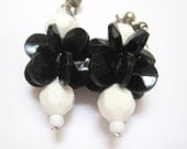 Vintage Geometric Dangle Earrings Black and White