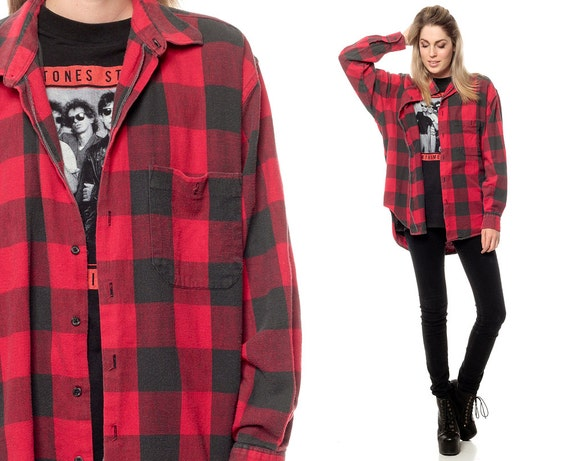 Buffalo plaid shirt 90s flannel grunge red long by shopexile for Red buffalo flannel shirt