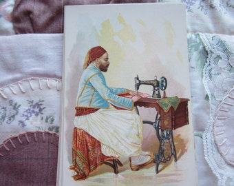 SALE 1892 Singer Sewing Machine Advertisement  Card National Ethnic Dress Costume TUNIS