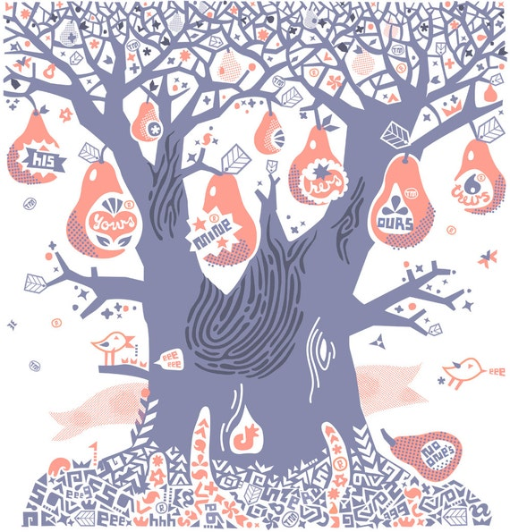 Everyone's Pear Tree - Handmade Silkscreen Printed Artwork