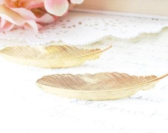 Gold Feather Hair Clip Set - Feather Alligator Hair Clip - Woodland Hair - Whimsical - Bridal Hair Accessory
