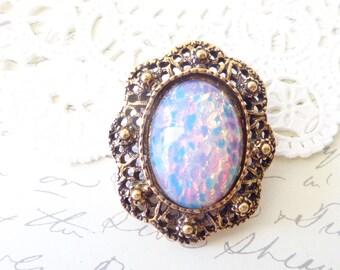 Pink Fire Opal Brooch - Flower Bouquet Brooch - Antique Gold Victorian Setting - Bridesmaid Brooch