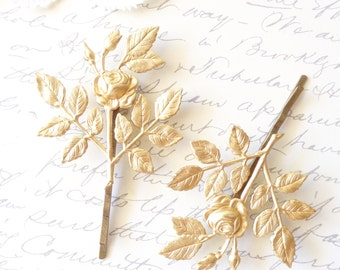 Golden Rose Blossom Hair Pins - Leaf Bobby Pins - Wedding Hair - Bridal - Woodland Collection - Whimsical