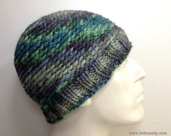 Mens Beanie Hat in Hand Dyed Baby Alpaca, Custom Made Crochet Knit Hat in Forest Green Brown Beige Reversible / BEDFORD / Shown in Color H3