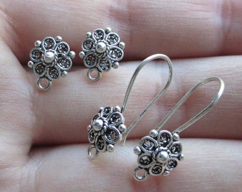 Sterling Silver Flower Earwires(one pair)Posts or French