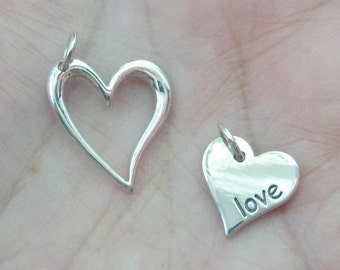 Sterling Silver Love Heart Charm(one charm)