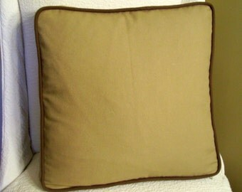 Brown Canvas Boxed Pillow Cover 16 inch Accent Pillow Throw Pillow