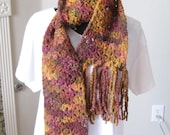 Ladies Extra Long Autum Fall  Colors Scarf with Fringe Stretchy Neck warmer Multi color