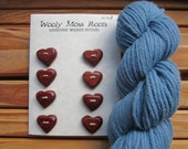 SALE! 8 Red Heart Buttons-  Handmade Wooden Buttons- in Reclaimed Rosewood- Reclaimed Wood- Valentine Heart Buttons, Eco Craft Supplies