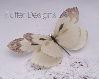 Brides Soft Cream and Brown silk butterfly hair clip with Crystal detail. Perfect for weddings!