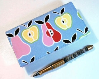 Checkbook Cover for Duplicate Checks - Apples and Pears - Cotton Fabric